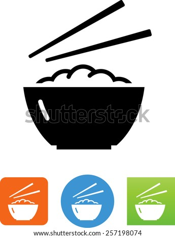 Bowl of rice with chopsticks symbol for download. Vector icons for video, mobile apps, Web sites and print projects.  - stock vector