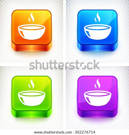 Bowl of Soup on Color Square Buttons