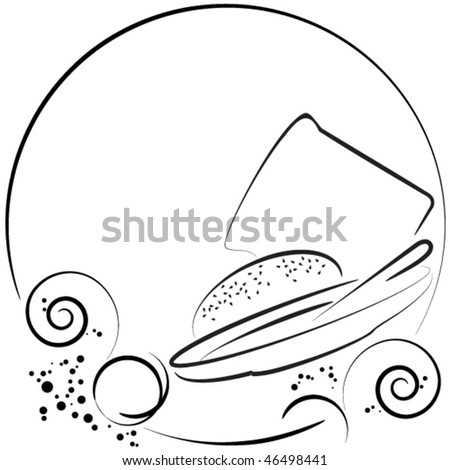 bowl of soup with bread and bun - stock vector