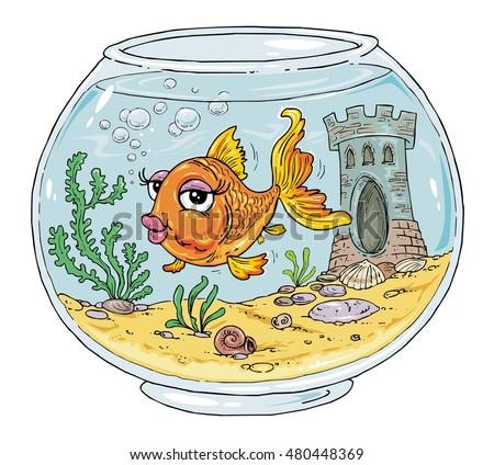 bowl goldfish fish tank cartoon aquarium stock vector 480448369 rh shutterstock com fish tank cartoon show fish tank cartoon drawing