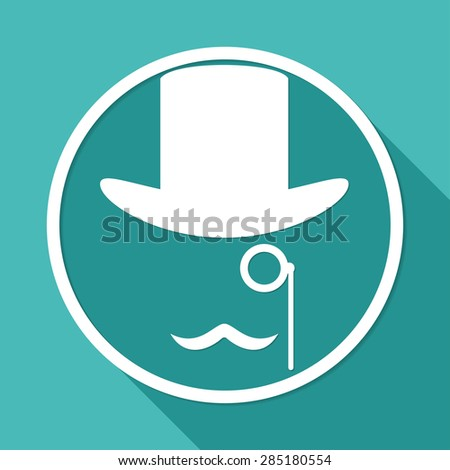 Bowler hat and moustache on white circle with a long shadow - stock vector