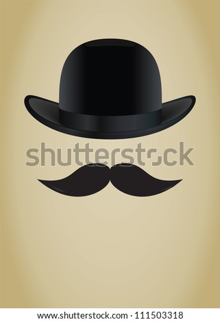 Bowler hat and moustache. Vector illustration - stock vector