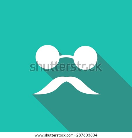 Bowler hat and moustache with a long shadow - stock vector