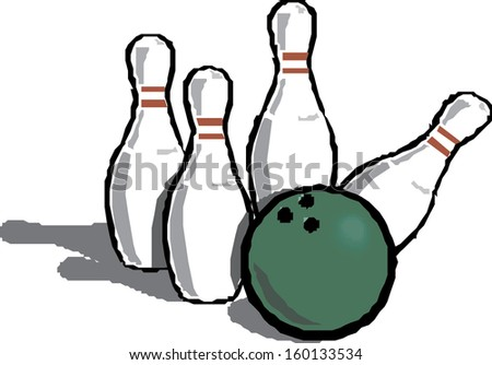 Bowling ball and falling bowling pins. - stock vector