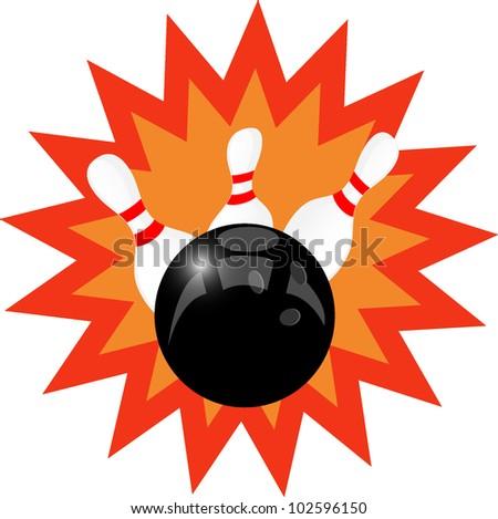 bowling ball and pin - stock vector