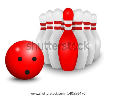 Bowling ball and pin. business concept - stock vector