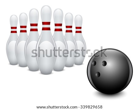 Bowling ball and pins on white background. Vector illustration. - stock vector