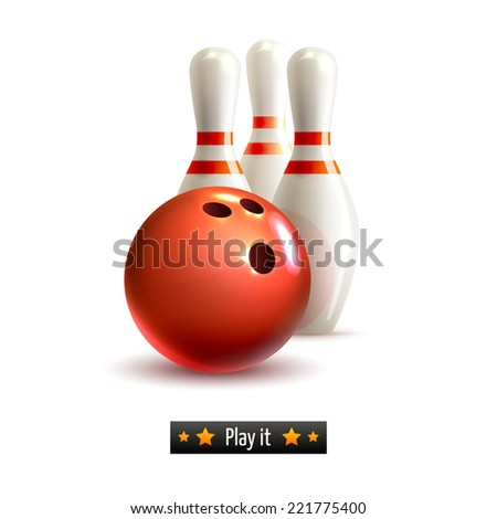 Bowling ball and pins realistic game set isolated on white background vector illustration - stock vector