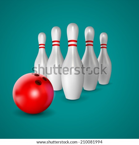 Bowling ball and  skittle - stock vector