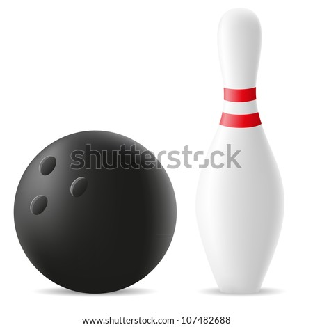 bowling ball and skittle vector illustration isolated on white background - stock vector