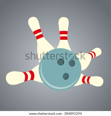 Bowling ball and skittles - stock vector