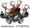 Bowling Ball Cartoon Face with Cowboy Hat Holding and Aiming Guns with bowling Pins Behind Him - stock vector