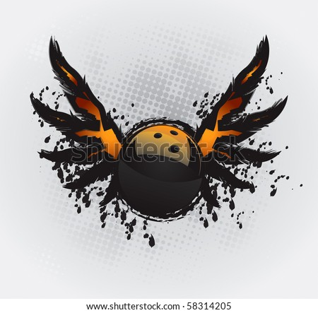 Bowling Ball Design Element Vector Drawing - stock vector