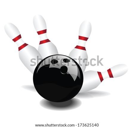 bowling ball hit pins vector - stock vector