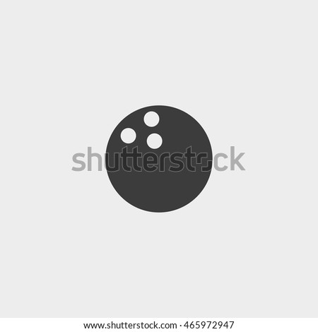 Bowling ball Icon in a flat design in black color. Vector illustration eps10