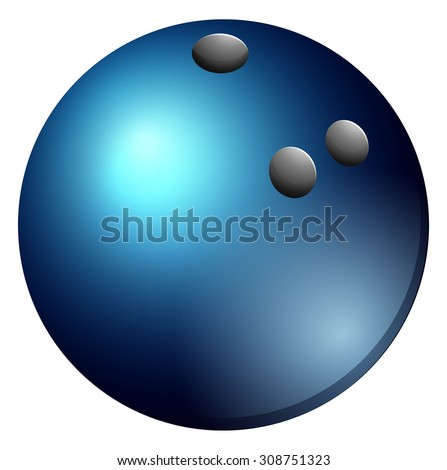 Bowling ball in blue color illustration