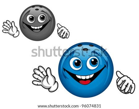 Bowling ball in cartoon style for sports design, such  a logo. Jpeg version also available in gallery. - stock vector