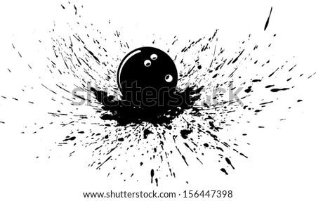 Bowling Ball in Splatter - stock vector
