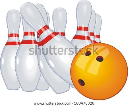 bowling ball knocked bowling vector - stock vector
