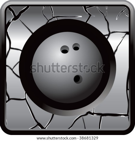 bowling ball on cracked web icon - stock vector