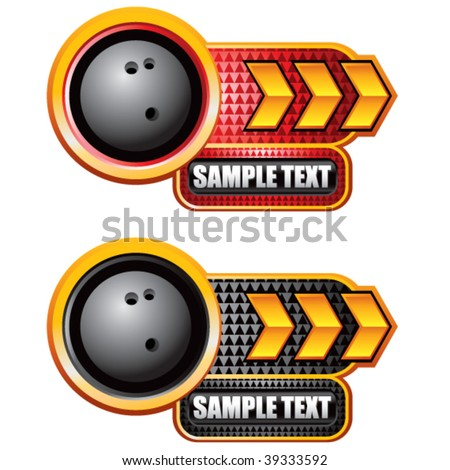 bowling ball on glossy arrow web button - stock vector