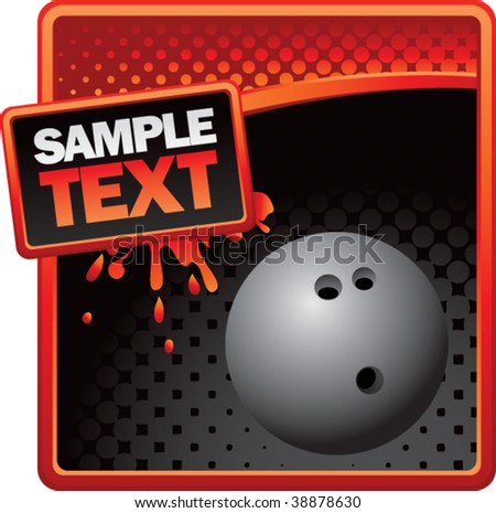 bowling ball on grunge style splat background - stock vector
