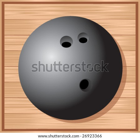 bowling ball on wood floor - stock vector