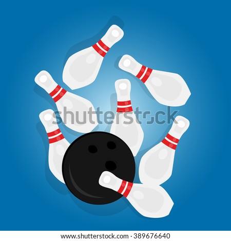bowling ball strike pin hit strike sport object drawing illustration - stock vector