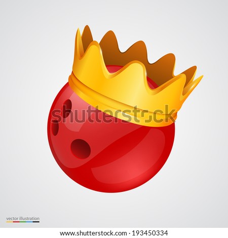 Bowling ball with a golden crown. Vector illustration - stock vector
