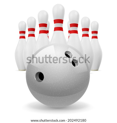 Bowling ball with holes in front. White skittles with red stripes on a white background - stock vector