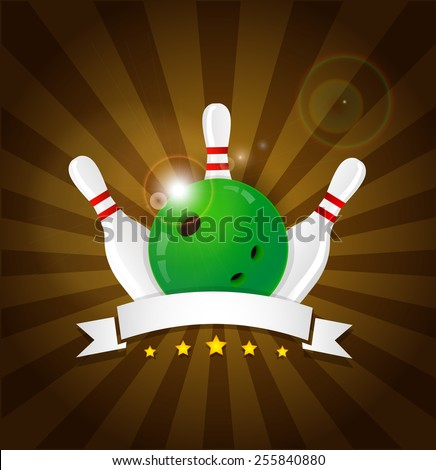 Bowling ball with skittles and white label - stock vector