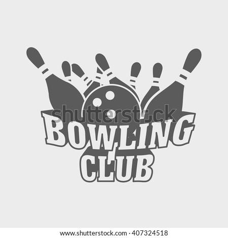 Bowling club logo, symbol or badge design concept with ball knocks down pins. - stock vector