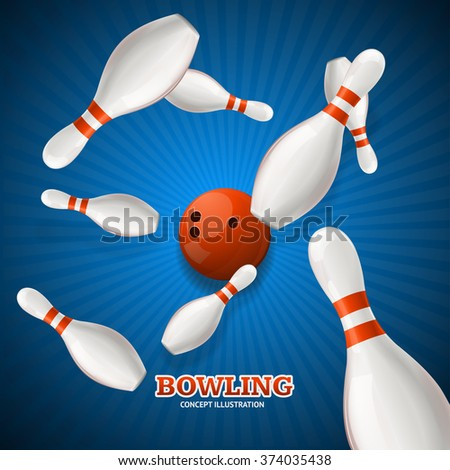 Bowling Concept. Strike  over Rays Background. Vector illustration - stock vector