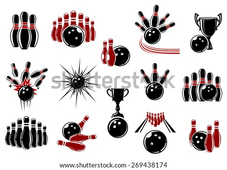 Bowling design elements for sporting emblems or logo with balls, ninepins, trophy cups and lanes decorated comics motion trails and explosion clouds - stock vector