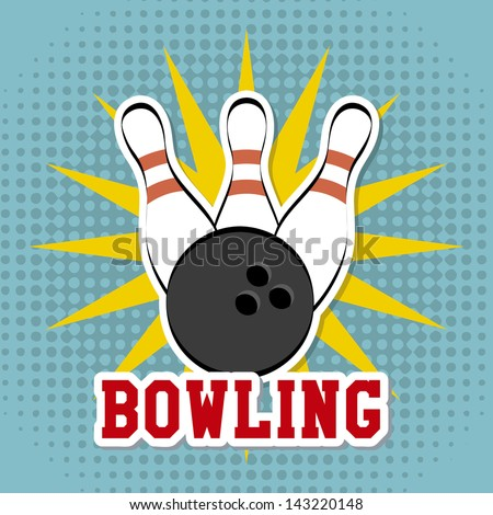 bowling design over dotted background vector illustration - stock vector