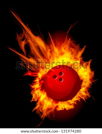Bowling Fire Ball on black vector illustration - stock vector