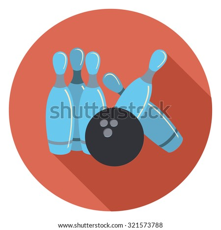 bowling flat icon in circle - stock vector