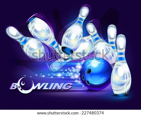 Bowling game, blue bowling ball crashing into the pins - stock vector