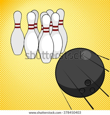 Bowling game pop art style vector illustration. Comic book style imitation. Comic book style imitation. Vintage retro style. Conceptual illustration