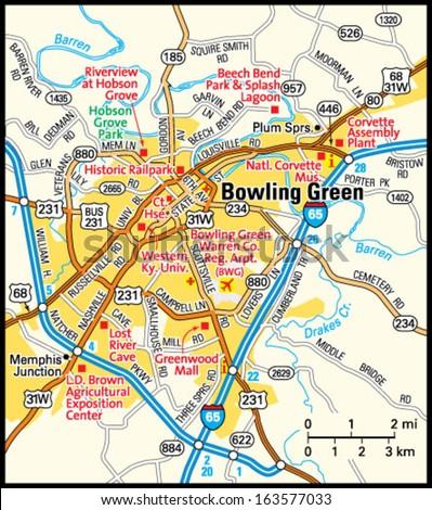 Bowling Green Kentucky Area Map Stock Vector 163577033 Shutterstock