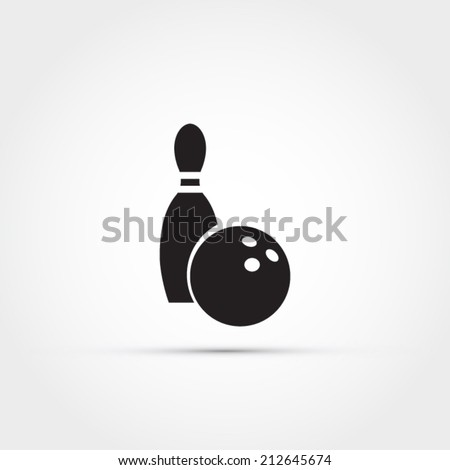Bowling icon, ball and pin - stock vector