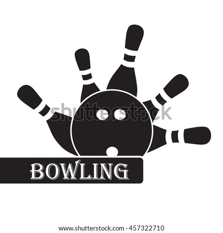 bowling icon black and white. Bowling ball and skittles - stock vector