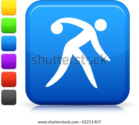 Bowling icon on square internet button  Six color options included. - stock vector