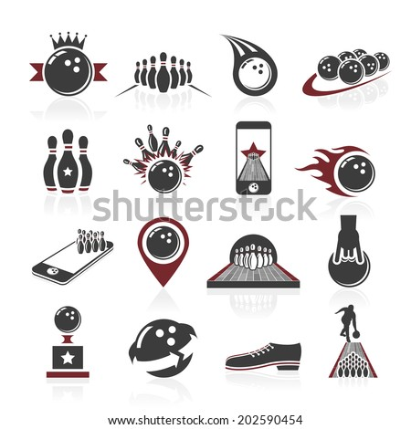 Bowling icon set - stock vector