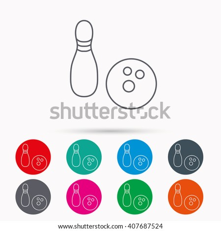 Bowling icon. Skittle or pin with ball sign. Competition sport symbol. Linear icons in circles on white background. - stock vector