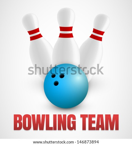 Bowling icon with three bowling pins and blue ball