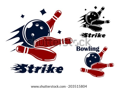 Bowling icons and symbols logo with the text - Strike - as the bowl hits the pins with speed and motion trails and one with the text - Bowling - and no motion trail - stock vector