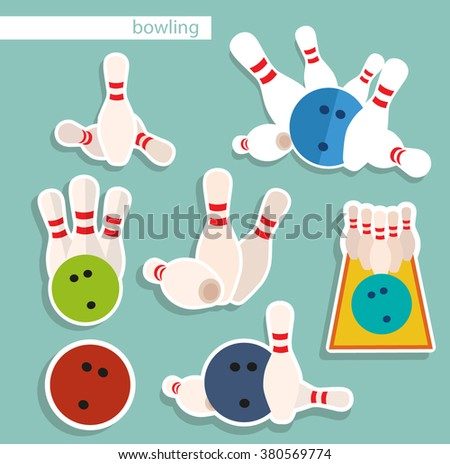 Bowling icons. Flat vector - stock vector