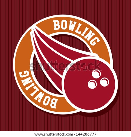 bowling label over red background vector illustration