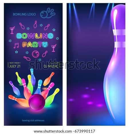 Bowling Party Flyer Template. Vector Clip Art Illustration.  Bowling Flyer Template Free